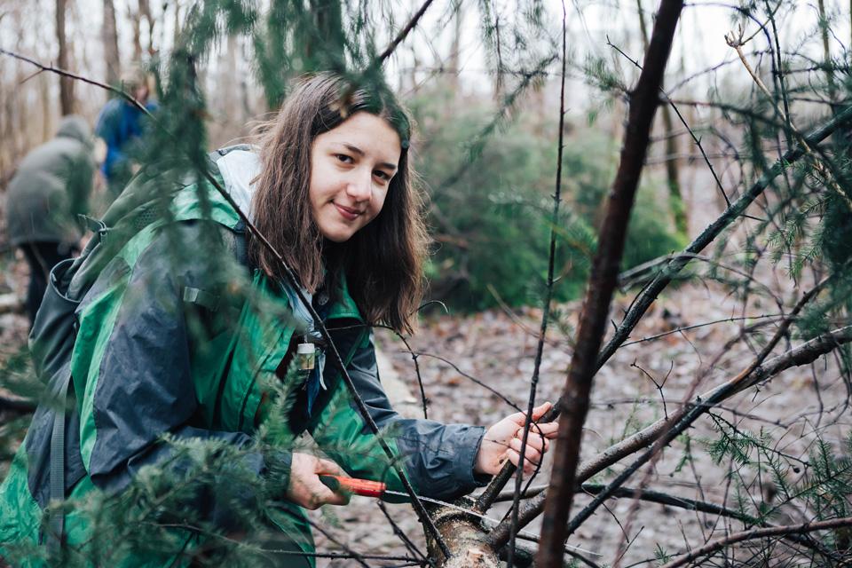 Jugendliche bei Holzarbeiten im Wald.