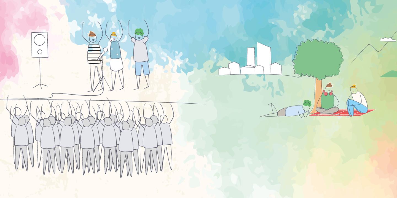 Zeichnung von Menschen bei einem Konzert, auf einer Wiese liegend und an einem Tisch stehend.